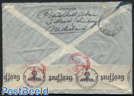Letter from Sittard to USA, Returned due to broken postal connection