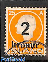 2kr on 25a, Stamp out of set