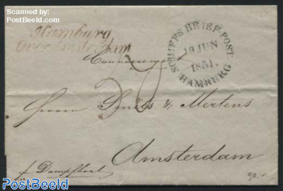 Letter to Amsterdam, by steamship from Hamburg