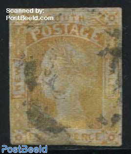 8p Yellow, used, short margins bottom and left