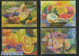 Stamp collecting month, fruits 4v