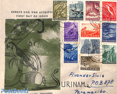 Definitives 11v on Verbrugge cover (only for 7 stamps first day of issue)