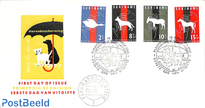 Animal protection 4v, FDC without address