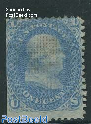 1c blue, with grill, probably used, but almost invisible, without gum