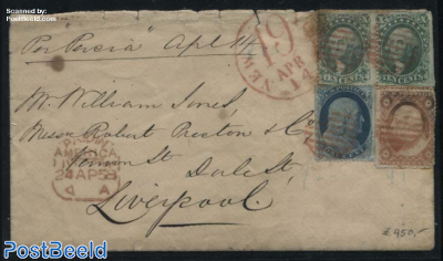 Letter per SS Persia to Liverpool England, (NEW 19 YORK APR 14, red)(PAID IN AMERICA 24 AP 58)