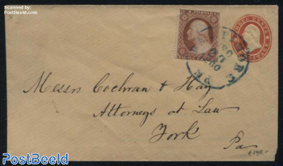 Postal stationary envelope 3c uprated with 3c stamp from Baltimore (Ma.) to York (Pa.)