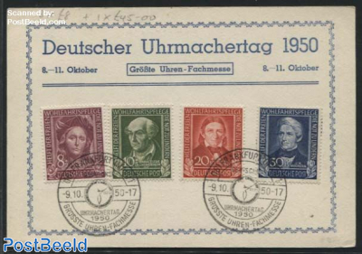 Welfare 1949 set on card with special postmark Uhren-Fachmesse